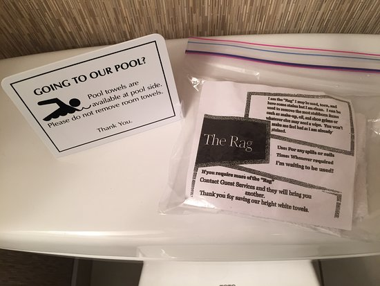 Clairmont, Canada: The Rag - I have never seen this in a hotel! What a great idea to preserve the linens!