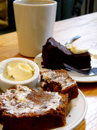 West Linton, UK: Gluten-free choc cake and vegan date & walnut loaf (with dairy free buttercream)