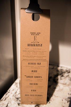 The Restoration: Breakfast menu.