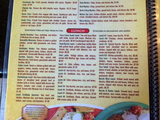Mexico Lindo Grill And Cantina Menu For Lunch