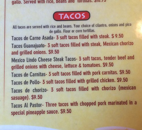West Branch, IA: Menu for Tacos