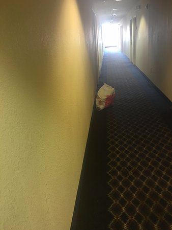 Euless, TX: The bag of trash left by the housekeeper in the hallway