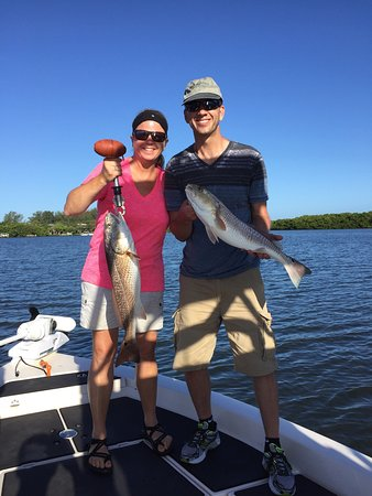 Boca Grande, FL: Captain Chris put us on redfish and we had doubles several times!