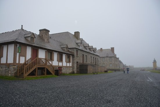 Louisbourg, Canada: The fortress on a rainy and foggy day