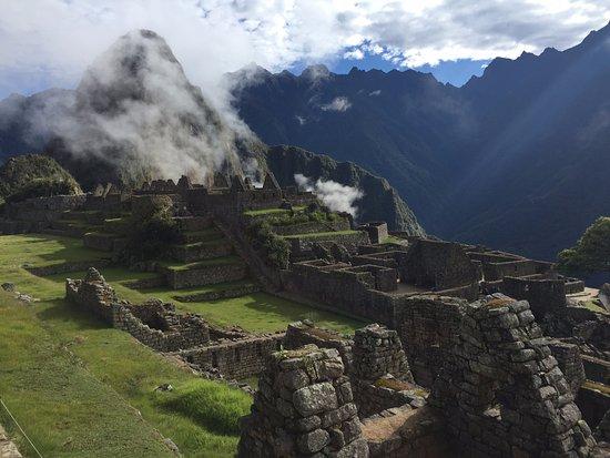Llama Path: Clouds coming in on machu picchu