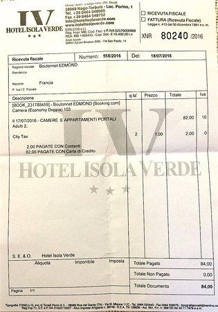 Nago, Ιταλία: La facture: 82€ pour 2 personnes avec petit-déjeuner inclus !!!!