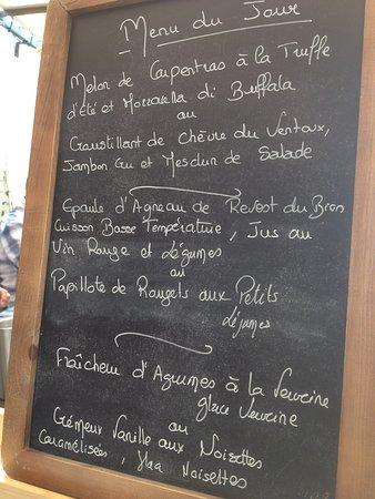 Mazan, Prancis: le menu du jour auquelnous avons eu droit