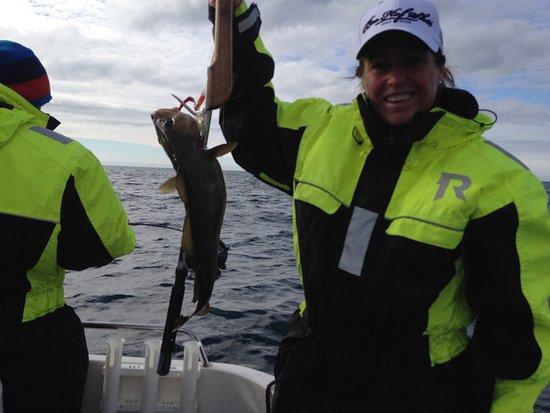 Sommaroy, Norway: Ful kattfisk på kroken men god att äta.