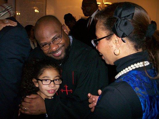 Macon, Северная Каролина: The Current Pastor Nolan Davis, greets Guests at a Church Event.