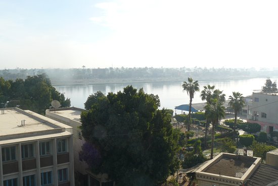 Asyut, Mesir: View from our room with Nile River