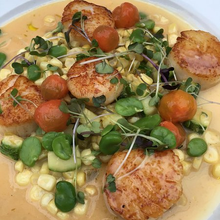 Foreign Cinema: Scallops with corn and lima beans - so good