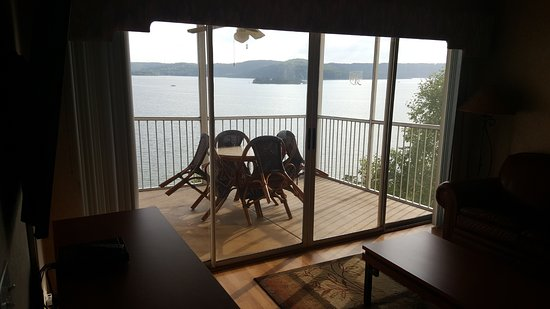 Hollister, MO: Our deck and view, looking out from living room