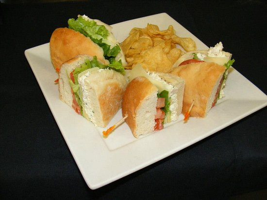 Pinehurst, NC: Chicken salad, avocodo, Swiss, lettuce and tomato homemade bread