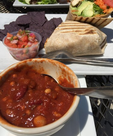 Owings Mills, MD: Vegan chili and avocado with grilled tofu wrap