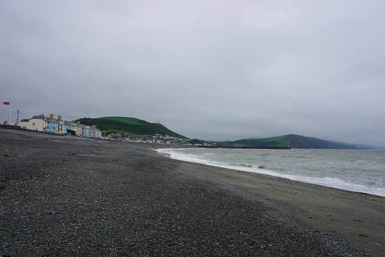Aberystwyth, UK: view of the beach and part of the town