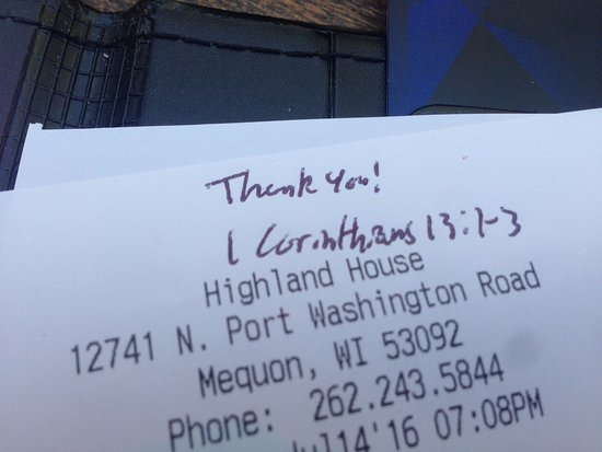 Mequon, WI: Probably just one inappropriate server but still this should never be put on a receipt.