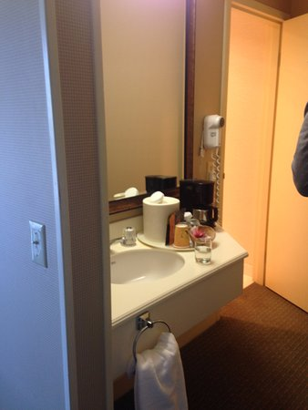 Columbus Motor Inn: sink area, outside of area with toilet and shower