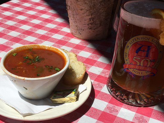 Teton Village, WY: goulash soup and beer