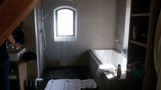Open badkamer met raam zonder gordijn. - Foto van Kasteel Coevorden ...