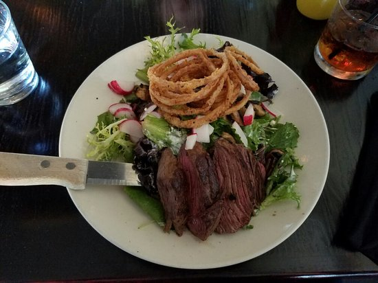 Nepo 42: Steak salad, perfectly cooked with sautéed mushrooms, fried onion, radish. $14.
