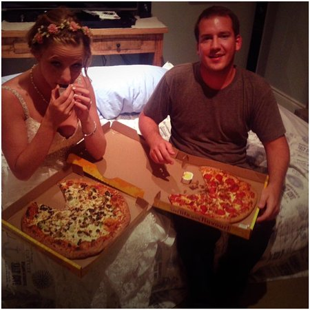 Grimsby, Canada : Wedding night pizza - Thanks Gino's for delivering late!