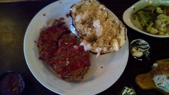 Delaware, OH: Meatloaf, baked potato, overcooked mixed vegies