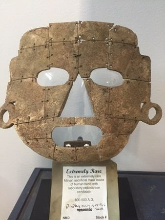 Rare Mayan Death Mask Carved from Human bone comes with lab