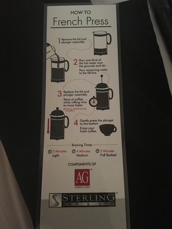 Sterling Inn & Spa: Instructions on how to make french press coffee. Suprisingly Simple!