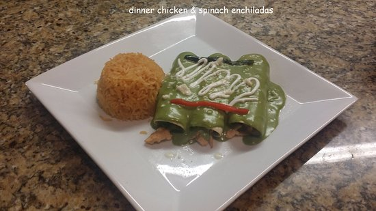 Bethany, OK: chickenn and spinach enchiladas