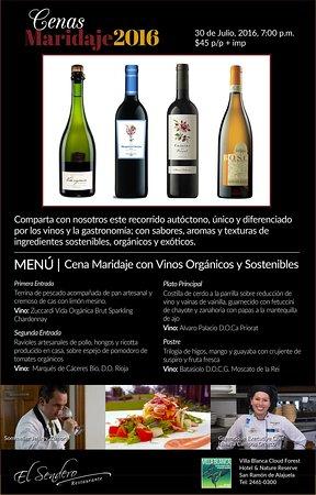 San Ramon, Costa Rica: Sábado 30 Julio Cena Maridaje Vinos Orgánicos.
