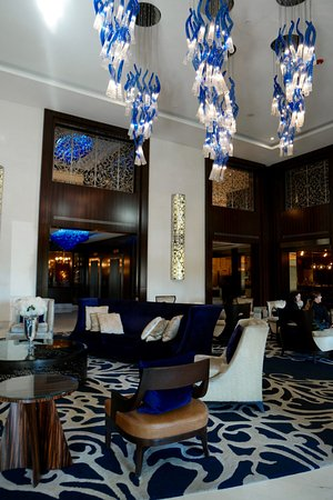 Four Seasons Hotel Buenos Aires: Modern lobby with cool blue light fixtures.