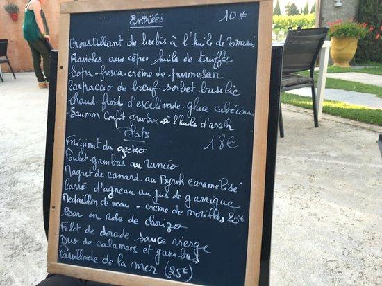 Camelas, Francia: Le menu