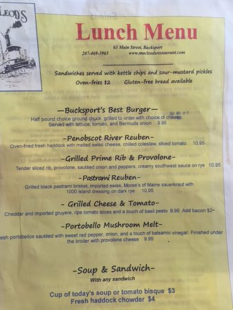 Bucksport, ME: MacLeod's Lunch Menu