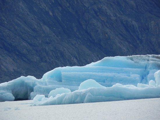 Columbia Glacier: Blue striped iceberg