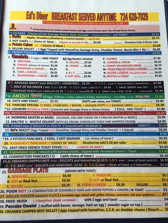 Connellsville, PA: Ed's breakfast menu