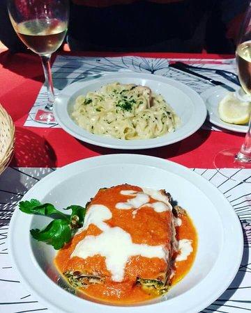 Il Gatto Trattorias : Lasagne Il Gatto y Fettuccine Panna e Gamberi!