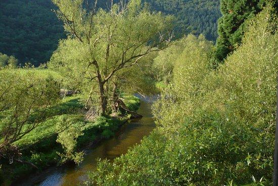 Mayschoss, Alemania: Blick von der Außenterrasse, in die Landschaft.