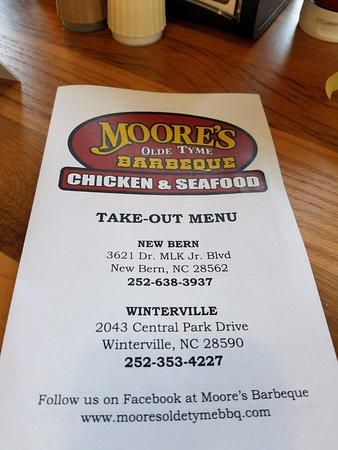 Moore's Olde Tyme Barbeque: The menu