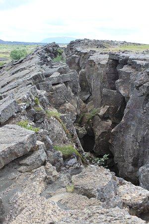 Reykjahlid, Исландия: Rock fissure at Grjotagja.