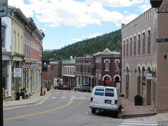 Central City, CO: Eureka St., The Century is the brown corner building on the far right