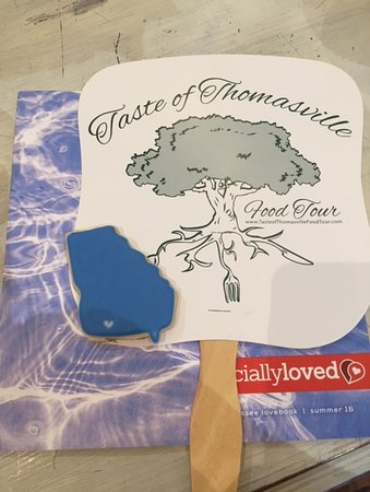 Thomasville, GA: A church fan to keep us cool and a special sugar cookie! Just a few of the many nice treats.