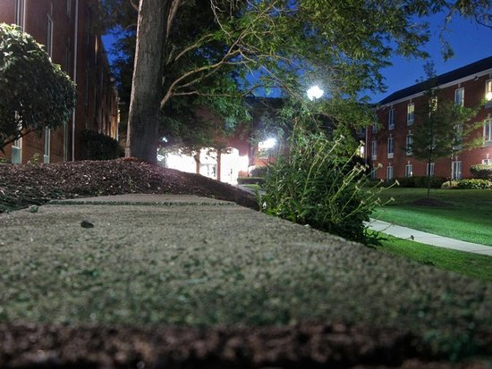 Lewis Center, OH: nightview of the landscaped plant bed area looking towards the hotel