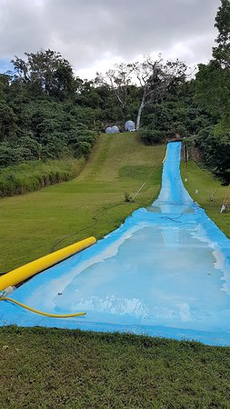 Wet N Wild Adventure Park: The Giant Slide and Zorbs at top of hill