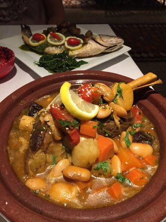 Media, PA: Lamb Tagine with whole fish special in the background