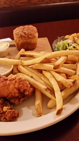 Country Cupboard Restaurant : Chicken tenders, fries, salad and home made bread for under $10.00