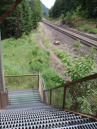 Libby, MT: 3 flights of stairs to pedestrian bridge. Not raised metal teeth