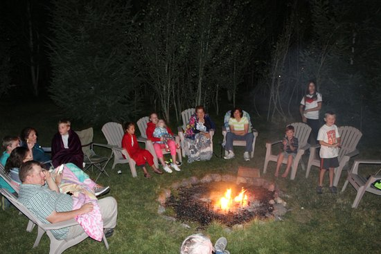 Bancroft, ID: Making smores and singing songs around the fire pit.