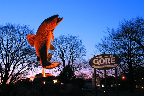 The famous giant trout statue in Gore