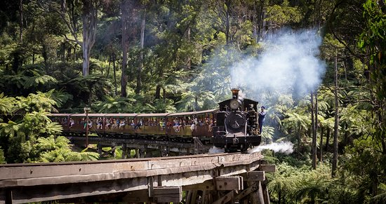 Belgrave, Australia: Puffing Billy Railway crosses the iconic Trestle Bridge