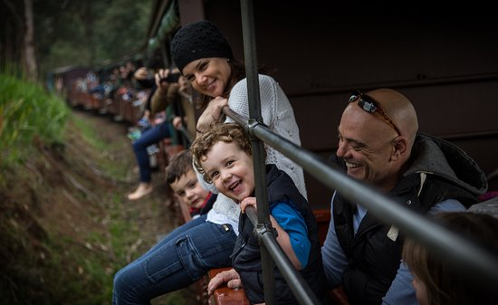 Belgrave, Australia: Family enjoying a trip aboard Puffing Billy